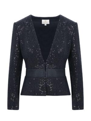 Black Crystal Wool Jacket